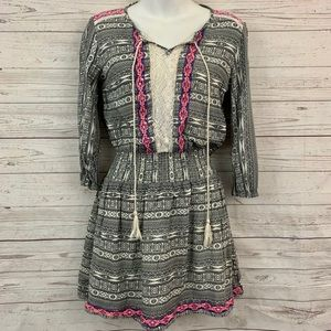 Flying Tomato embroidered tribal smocked dress